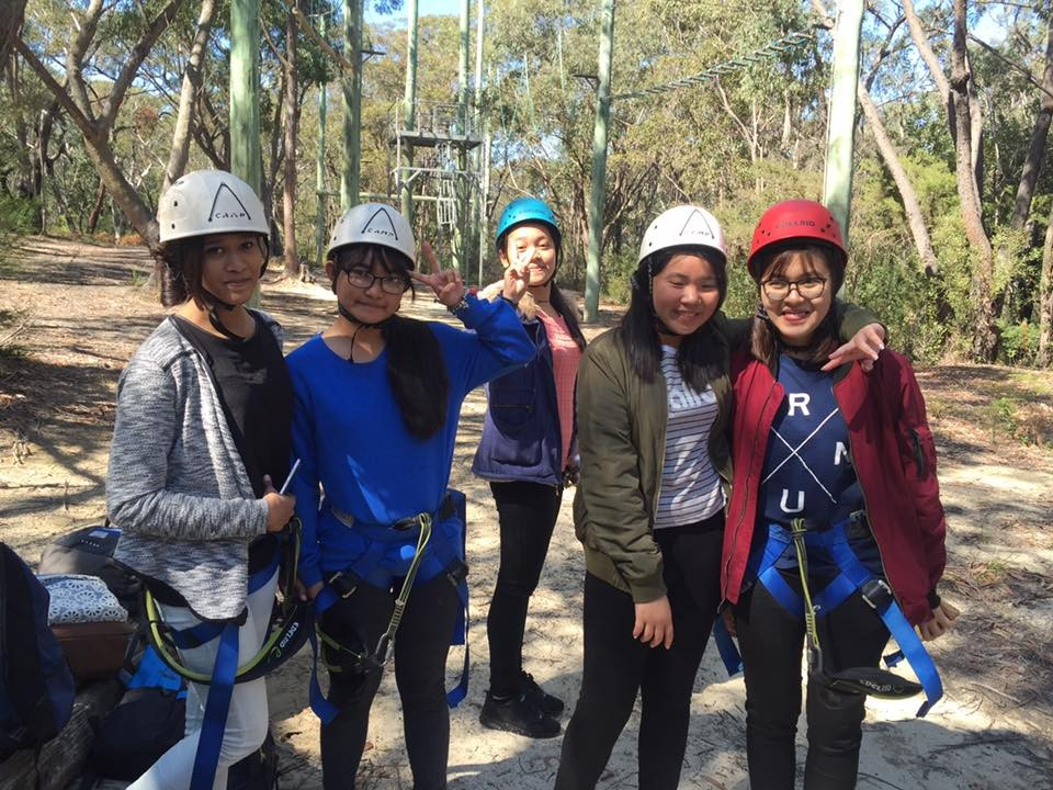Students in the bush ready to take part in the adventure park activities.
